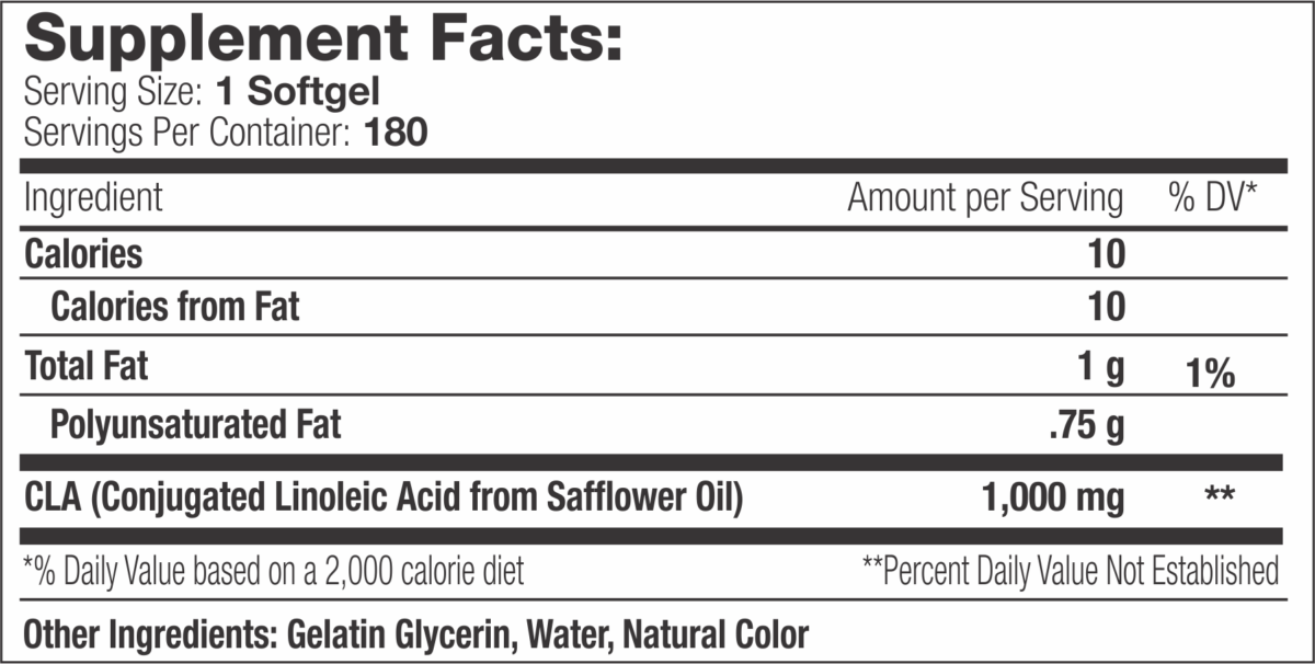 CLA Xtreme 180 supplement facts