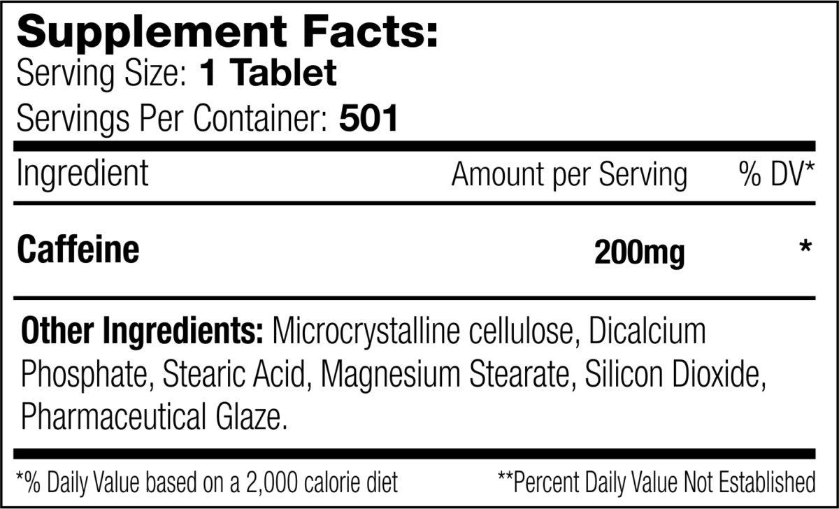 Caffeine 501 tab Supplement Facts