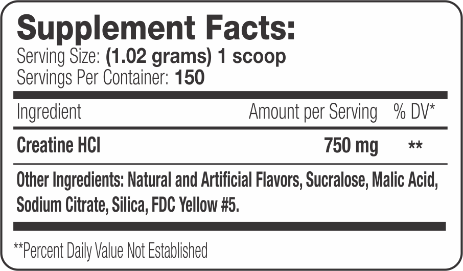 Creatine HCI Label (Lemon Lime) Supplement Facts
