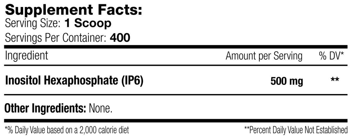 Inositol Hexaphosphate (IP6) Label (Supplement Facts)