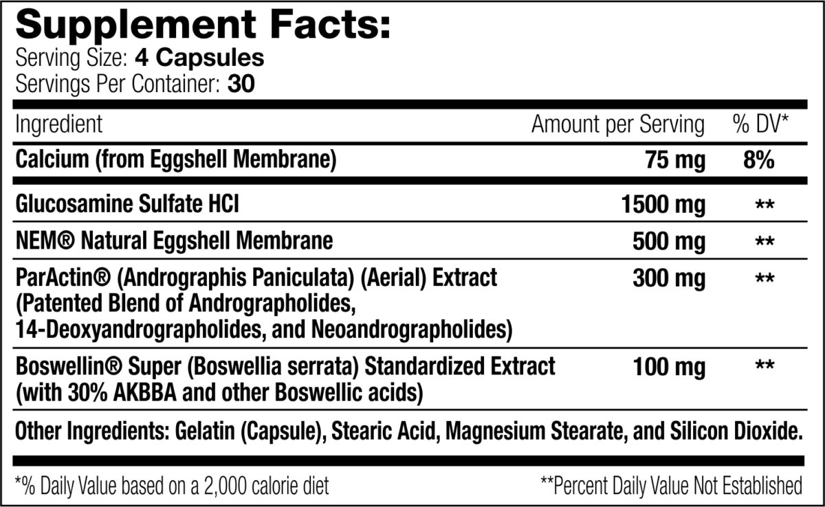 Joint Support XT 120 count Supplement Facts