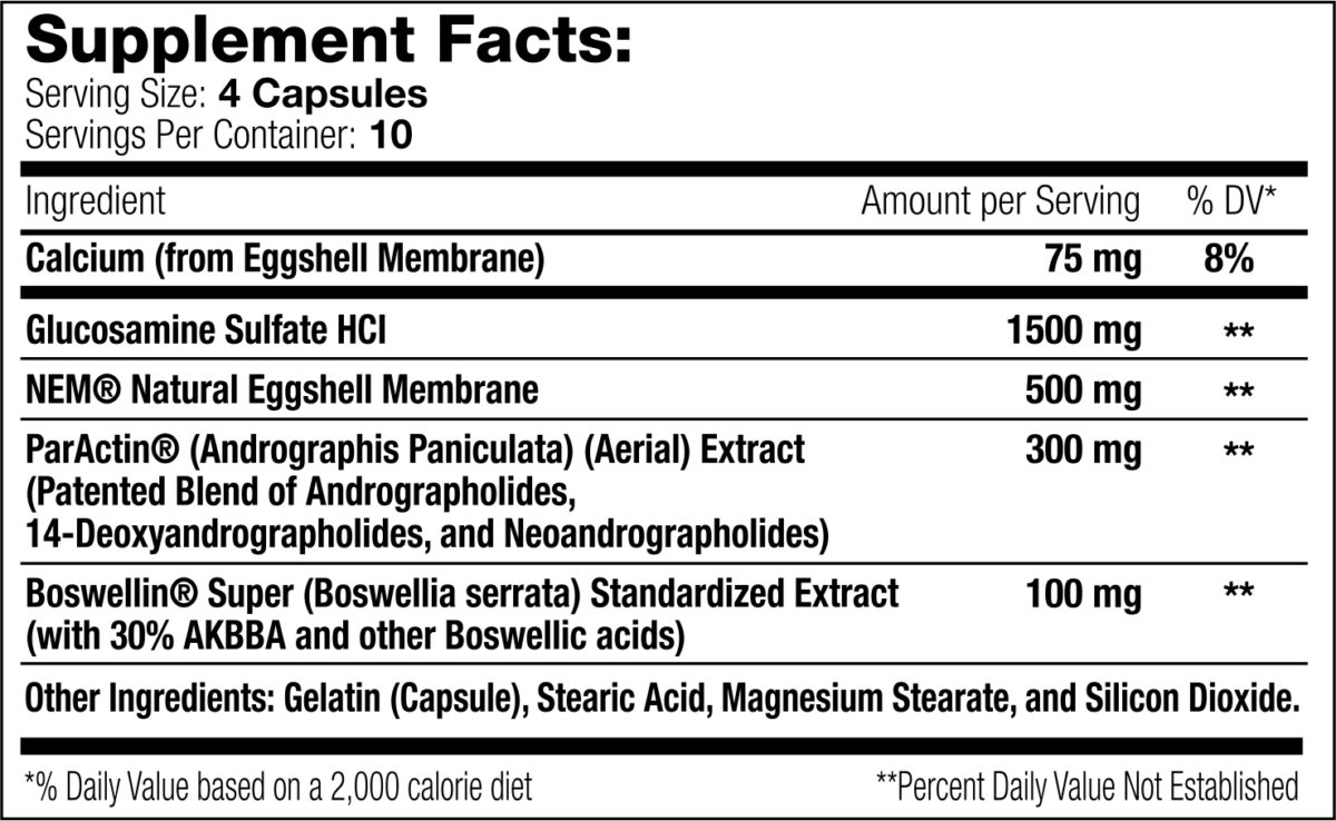 Joint Support XT 40 count Supplement Facts