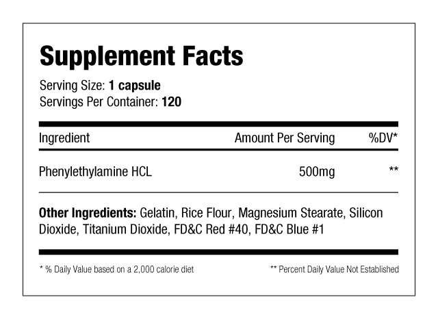 PEA-500 Xtreme - 120 caps Supplement Facts